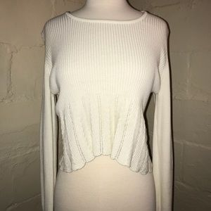 White Crochet Crop Sweater